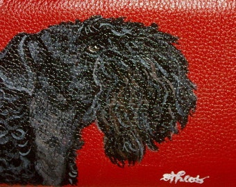 Kerry Blue Terrier Dog Custom Hand Painted Leather Checkbook Cover Checkbook Holder