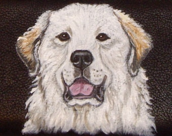 Great Pyrenees Dog Custom Painted Leather Checkbook Cover
