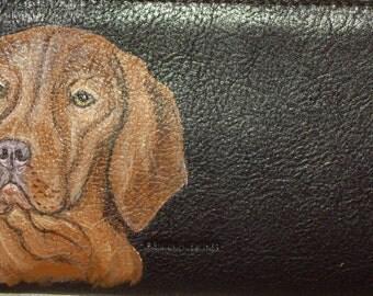 Viszla Dog Custom Painted Leather Checkbook Cover