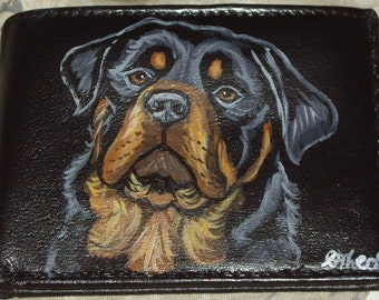 Rottweiler Dog Custom Painted Men's Leather Wallet Gifts For Men