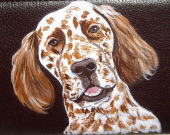 English Setter Dog Custom Painted Leather Men wallet
