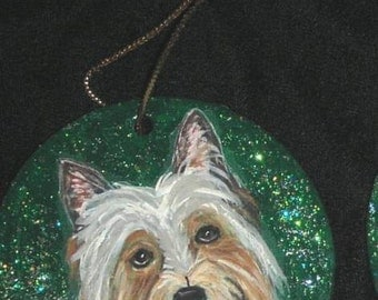 Silky Toy Terrier Dog Custom Hand Painted Christmas Ornament Decoration