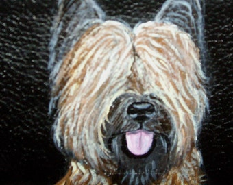 Briard Dog Custom hand Painted Leather Wallet for men Bifold Trifold