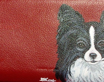 Papillon Dog Custom hand Painted Leather Checkbook Cover Checkbook Holder