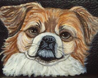 Tibetan Spaniel Dog Custom hand Painted Leather Checkbook Cover Checkbook Holder