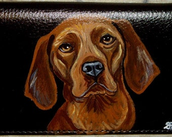 Redbone Coonhound Dog Custom Painted Leather deluxe Checkbook Cover