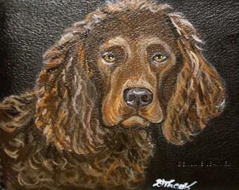 Boykin Spaniel Dog Custom Painted Leather Men's wallet