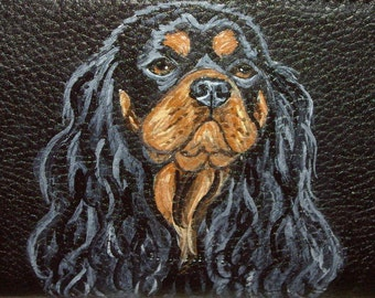 King Charles Cavalier Spaniel Dog Custom Hand Painted Leather Checkbook Cover checkbook Holder