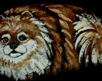Pomeranian Dog Hand Painted  Rock Art Figurine Paper Weight OOAK