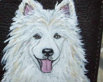 Samoyed Dog Custom Painted Men's Leather Wallet