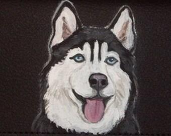 Siberian Husky Dog Custom Painted Men's Leather Wallet New