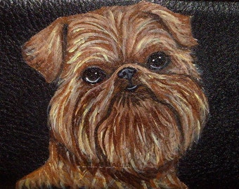 Brussels Griffon Dog Custom hand Painted Leather Men's wallet