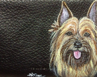 Silky Toy Terrier Dog Custom Painted Leather Checkbook Cover