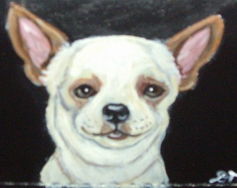 Chihuahua Dog Custom Hand Painted Leather Checkbook Cover Checkbook Holder