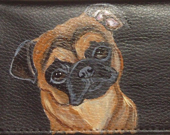 Brussels Griffon Dog Custom Painted Leather Men's wallet Gifts for Men