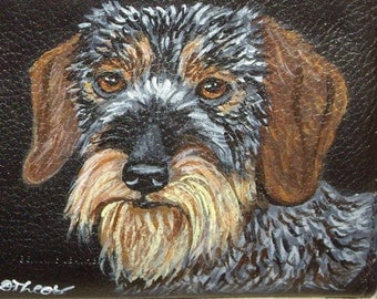 Wirehaired Dachshund Dog Custom  Hand Painted Men's Leather Wallet