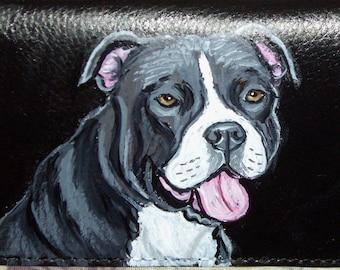 Pit Bull Terrier Dog Custom Painted Leather Men's Wallet Gifts for Men