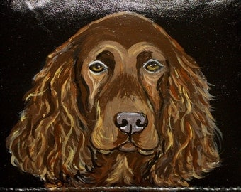 Field Spaniel Dog Custom Hand Painted Leather Checkbook Cover checkbook Holder