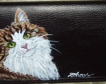 Norwegian Forest Cat Custom Hand Painted Leather Checkbook Cover Checkbook Holder