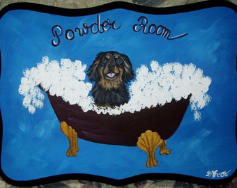 King Charles Cavalier Spaniel Dog Custom Painted Powder Room Sign Plaque Home decor