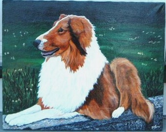 Custom hand Painted Dog Cat Any Pet  Portrait Stretched Canvas 16x20