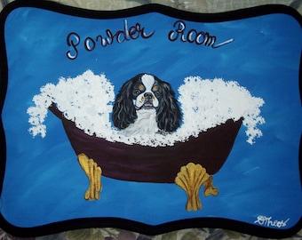 English Toy Spaniel Dog Custom Painted Powder Room Sign Plaque Home decor wall decor