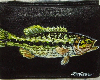 Bass Fish Custom Painted Men's Leather Wallet