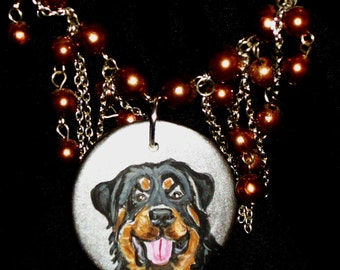 Rottweiler Dog hand Painted Ceramic Pendant Beaded  Necklace SALE