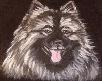 Keeshond Dog Custom Hand Painted Leather Checkbook Cover checkbook Holder