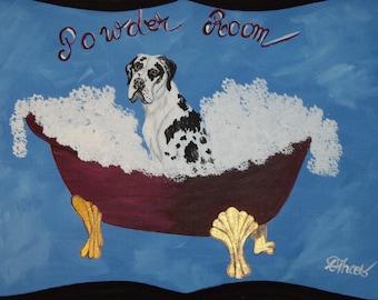 Harlequin Great Dane Dog Custom Hand Painted Powder Room Sign Plaque Home Decor