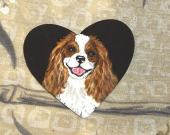 King Charles Cavalier Spaniel Custom Painted Pin Brooch