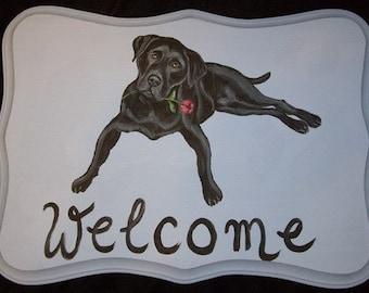 Labrador Retriever dog Custom Painted Welcome Sign Plaque Home decor Wall decor