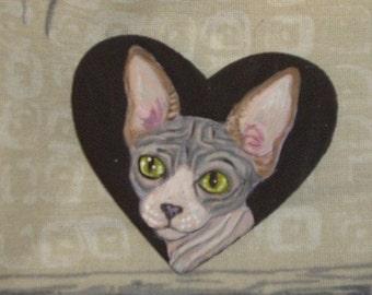 Sphynx Cat Custom Painted Pin Brooch Jewelry