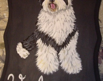 Old English Sheepdog Custom Hand Painted Welcome Sign Plaque Home Decor