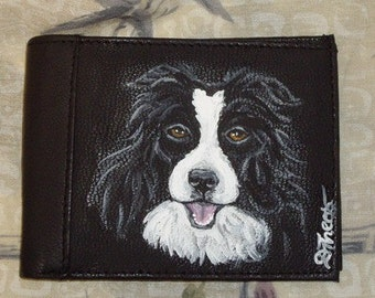 Border Collie Dog Custom Painted Leather Men's Wallet