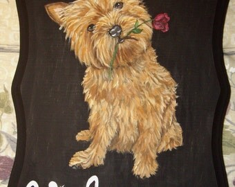 Norwich Terrier Dog Custom Hand Painted Welcome Sign Plaque Home decor Wall decor
