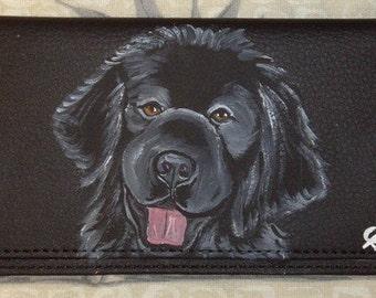 Newfoundland Dog Custom Painted CheckBook Cover