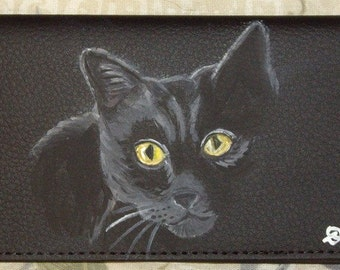 Black Cat Bombay Painted Leather deluxe Checkbook Cover checkbook holder