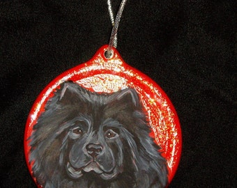 Black Chow Chow Dog Custom Hand  Painted Christmas Ornament Christmas Decoration