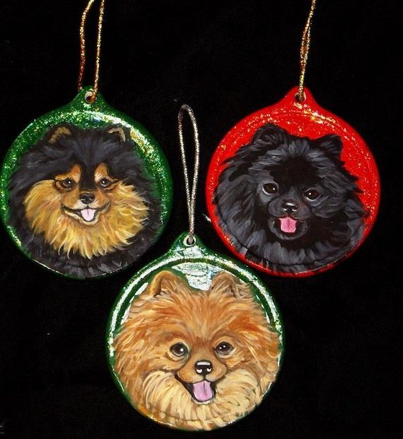 Pomeranian Dog CustomHand  Painted Christmas Ornament Decoration