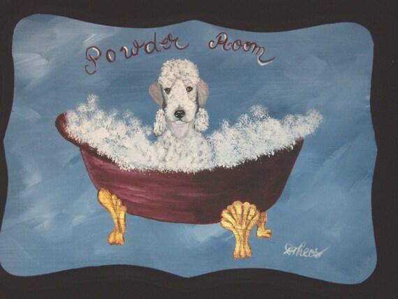 Bedlington Terrier Custom Powder Room Sign Plaque Wall decor Home decor