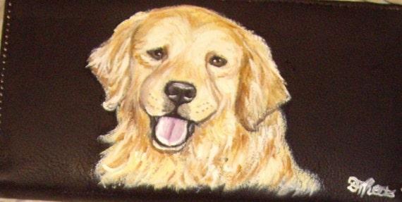 Golden Retriever Dog Hand Painted Leather Deluxe Checkbook Cover Checkbook Holder