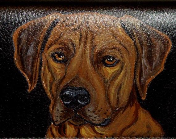 Rhodesian Ridgeback Dog Custom Painted Men's Leather Wallet