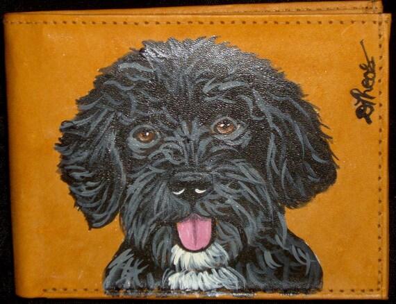 Custom Dog Painted Men's Leather Wallet for Elisha