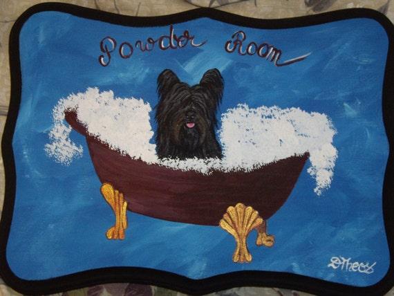 Skye Terrier Dog Custom Painted Powder Room Sign Plaque