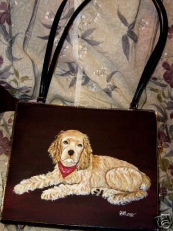 Cocker Spaniel Dog hand Painted Handbag Bag Purse 3 items for the price of 1