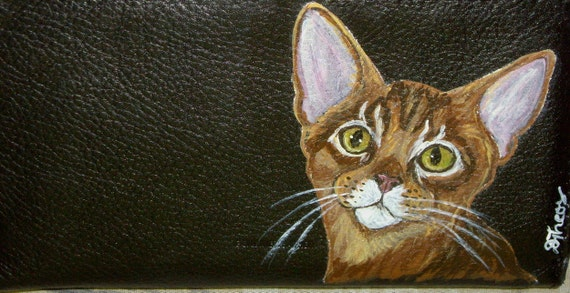 Abyssinian Cat Custom hand Painted Leather deluxe Checkbook Cover checkbook Holder