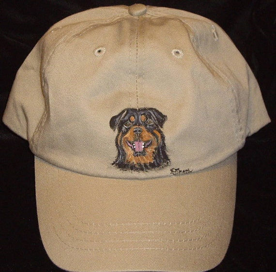 Rottweiler Dog Painted Baseball Hat