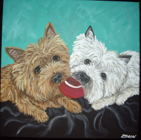 Cairn Terriers At Play 4 Original Canvas Painting