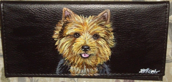 Norwich Terrier Dog Custom Painted Leather Checkbook Cover Checkbook holder